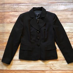 Kasper Fitted Black 3 Button Blazer Sz 4 Petite